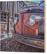 Rusty Old Truck In A Ghost Town In Arizona Wood Print