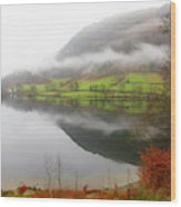 Rydal Water On A Misty Day In December Wood Print