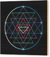 Sacred Geometry And Alchemy Symbol Sri Wood Print