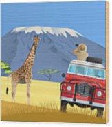 Safari Truck In African Savannah Wood Print