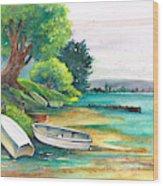 Safe Mooring-whangamata Harbour. Wood Print