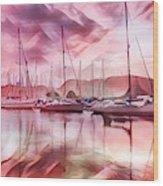 Sailboat Reflections At Sunrise Abstract Wood Print