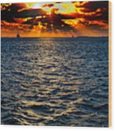 Sailboat Sunburst Wood Print