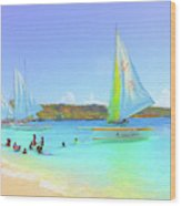 Sailboats At Sandy Ground In Anguilla  Wood Print
