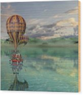 Sailing Away Daydream Steampunk Wood Print