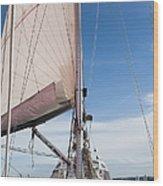 Sailing Boat In Sea Wood Print