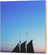 Sailing Into Sunset Wood Print