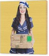 Sailor Pin Up Holding Nautical Supplies Wood Print