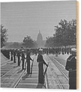 Sailors Lining Constitution Avenue For Wood Print