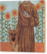 Saint Francis And The Wolf Of Gubbio Wood Print