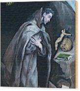 Saint Francis Kneeling In Meditation Wood Print