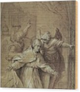 Saint Gregory Praying For Souls In Purgatory  Wood Print