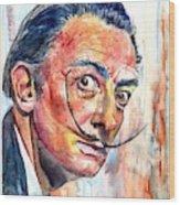 Salvador Dali Portrait Wood Print