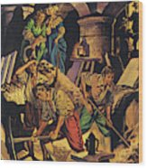 Samuel Pepys Searching For A Hoard Of Money Supposedly Hidden In The Tower Of London Wood Print