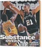 San Antonio Spurs Tim Duncan, 1999 Nba Western Conference Sports Illustrated Cover Wood Print
