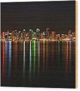 San Diego Skyline From Harbor Island Wood Print