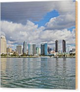 San Diego Skyline From The Water Wood Print