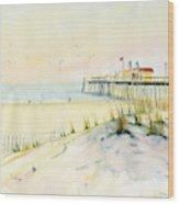 Sand Dunes At Ocean City Beach Maryland Wood Print