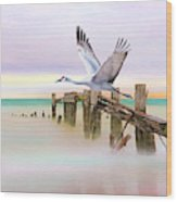 Sandhill Crane And Old Dock Wood Print