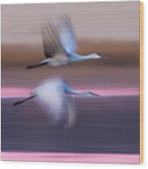 Sandhill Cranes Flying Over Lake Wood Print