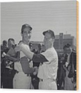 Sandy Koufax And Whitey Ford Shaking Wood Print