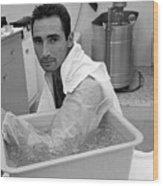 Sandy Koufax Soaking His Elbow In Ice Wood Print