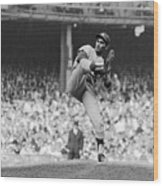 Sandy Koufax Throwing Pitch In World Wood Print