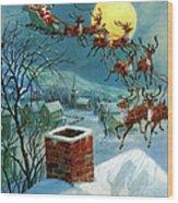 Santa Claus And His Sleigh Wood Print