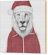 Santa Lion  Wood Print