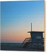 Santa Monica Beach Safeguard Tower At Wood Print