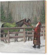 Santa With Horses Wood Print