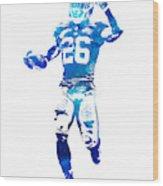 Saquon Barkley New York Giants Water Color Pixel Art 10 Wood Print