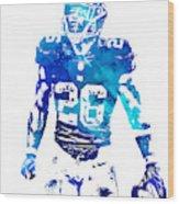 Saquon Barkley New York Giants Water Color Pixel Art 11 Wood Print