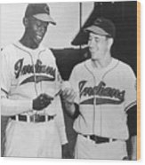 Satchel Paige Bob Feller Comparing Wood Print
