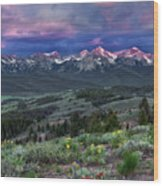 Sawtooth Sunrise Wood Print