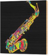 Saxophone Music Instrument Gift For Musician Color Designed Wood Print