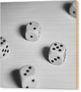 Scattered Dices Wood Print
