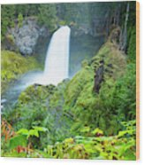 Scenic View Of Waterfall, Portland Wood Print