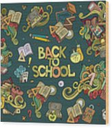 School And Education Doodles Hand Drawn Wood Print