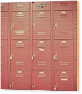 School Lockers Wood Print