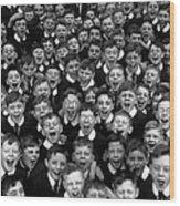 Schoolboys Cheer Wood Print