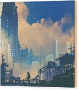 Sci-fi Cityscape With Slum And Wood Print