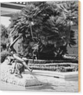 Sculpture Getty Villa Black White  Wood Print