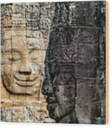 Sculptures At Bayon Temple, Angkor Wood Print