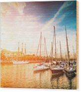 Sea Bay With Yachts At Sunset Wood Print