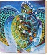 Sea Turtle Says Wood Print