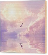 Seagull And Violet Clouds Wood Print