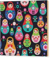 Seamless Colorful Retro Russian Doll Wood Print