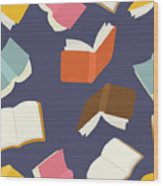 Seamless Flying Books Pattern Wood Print