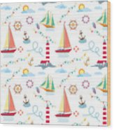 Seamless Marine Pattern With Ships Wood Print